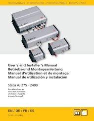 User's and Installer's Manual Betriebs-und Montageanleitung ...