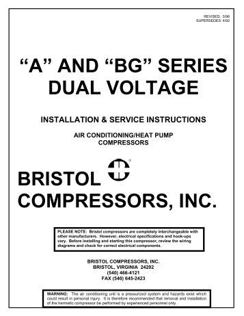 ha two speed start comp and atildecenteuroaring147bgatildecenteuro series dual voltage bristol compressors inc