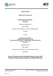 V E R T R A G über die Zusammenarbeit der MedUni Wien und dem ...