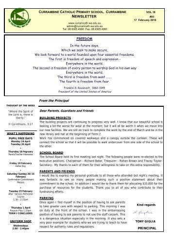 Week 3 - February 17th 2010 - Currambine Catholic Primary School