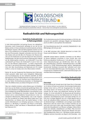 radioaktivität und nahrungsmittel - UMG-Verlag