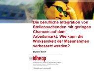 Die berufliche Integration von Stellensuchenden mit geringen ...