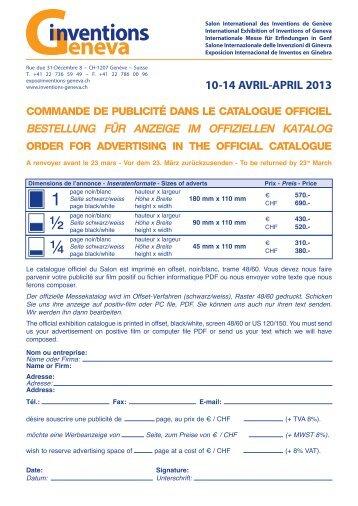 Commande de pub catalogue 2013 - Salon International des ...