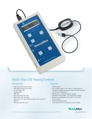 oae hearing screener technical specifications welch allyn