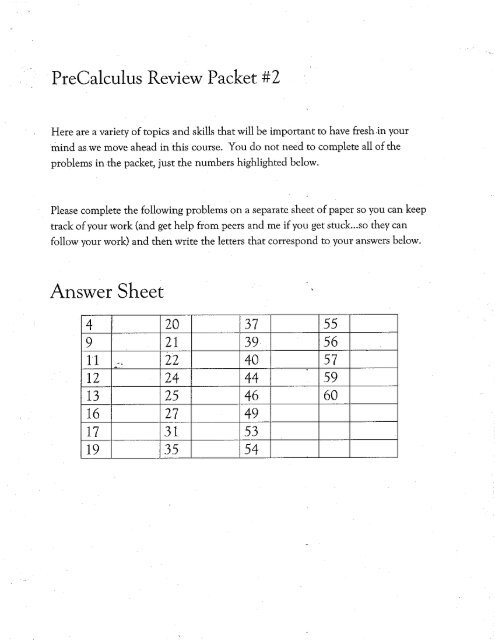 Multiple-Choice Precalculus Review Packet - Lakeside School