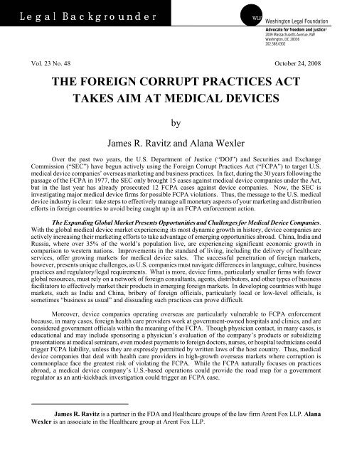 The Foreign Corrupt Practices Act Takes Aim At Medical Devices