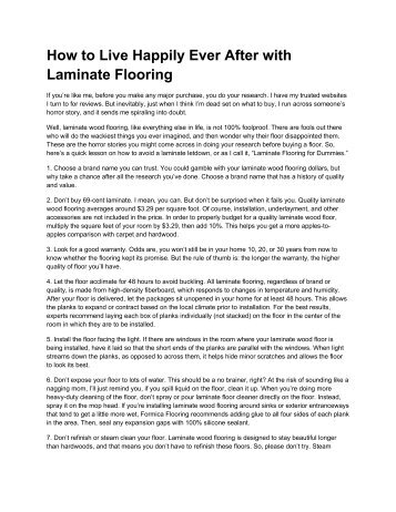 How to Live Happily Ever After with Laminate ... - Formica Flooring