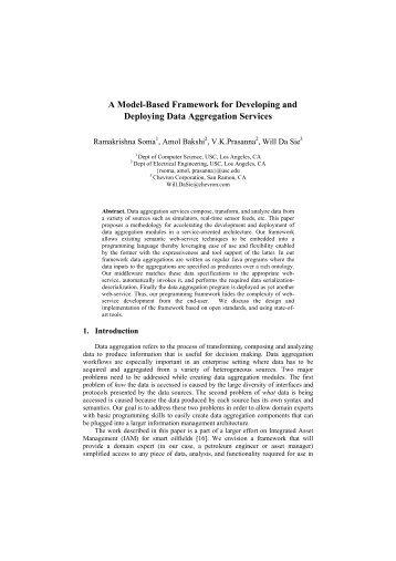 A Model-Based Framework for Developing and Deploying Data ...