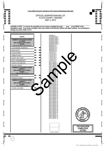 official nonpartisan ballot floyd county, indiana may 4, 2010