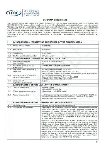 Diploma Supplement - IMC Fachhochschule Krems GmbH