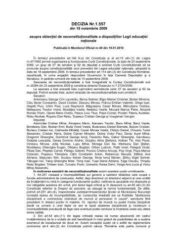 28. Decizia nr. 1557 din data de 18.11.2009 - Curtea Constituţională ...