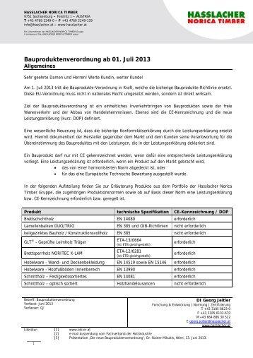 Bauproduktenverordnung ab 01. Juli 2013 - Hasslacher