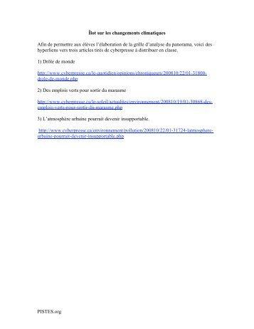 PISTES.org Îlot sur les changements climatiques Afin de permettre ...