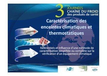Caractérisation des enceintes climatiques et ... - Evenium