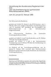Verordnung des Bundesrates/ Reglement der EDK über die ...