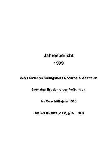 1999 - Landesrechnungshof des Landes Nordrhein-Westfalen (LRH ...