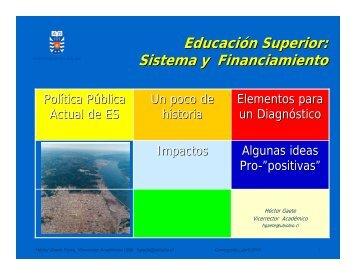 Educación Superior: Sistema y Financiamiento - Universidad del Bío ...