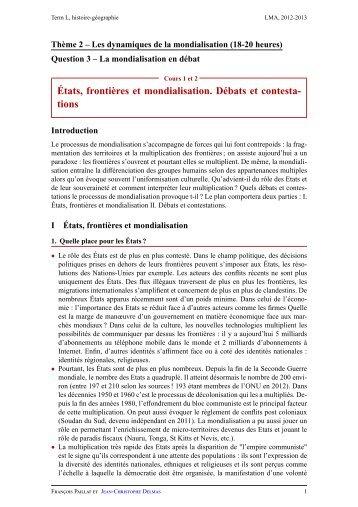 États, frontières et mondialisation. Débats et ... - Lyceedadultes.fr