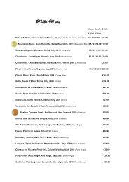 White Wines - Number Twelve Restaurant & Bar