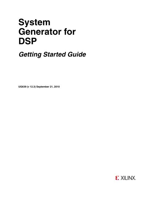 Xilinx System Generator for DSP Getting Started Guide