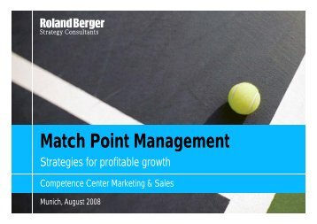 Match Point Management - Roland Berger Strategy Consultants
