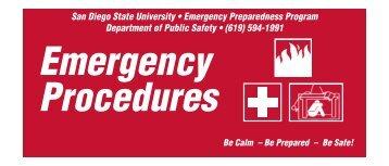 SDSU Emergency Prparedness Program Emergency Procedures