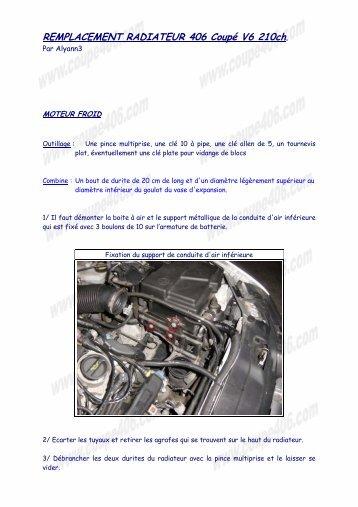 REMPLACEMENT RADIATEUR 406 Coupé V6 210ch