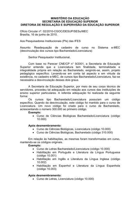 Ofício Circular nº. 02/2010-CGOC/DESUP/SESu/MEC - Centro de ...