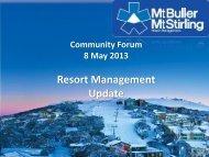 Presentation to Community Forum - Mt Buller