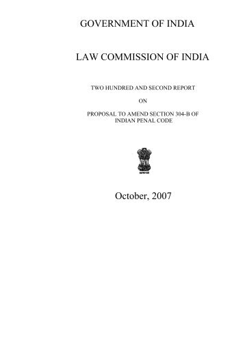 proposal to amend section 304-b of indian penal code - Law ...