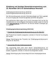 Einladung zur Gemeindeversammlung vom 23. November 2012