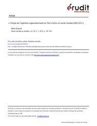 Critique de l'ingénierie organisationnelle du Plan d'action en santé ...