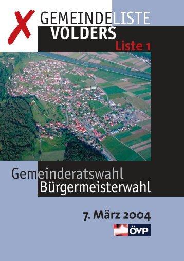 Gemeindeliste Volders Liste 1