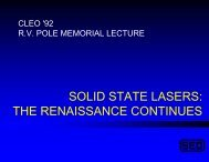 solid state lasers: the renaissance continues - Q-Peak, Inc.