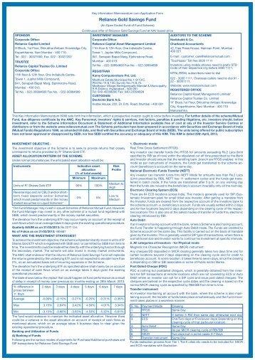 Reliance-Gold Schemes Forms - Rrfinance.com