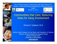 Communities that Care: Reducing Risks for Gang Involvement