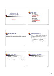 Progettazione di Sistemi Informativi Informazioni INFORMAZIONI ...