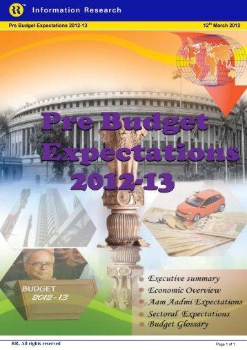 Pre Budget Expectations 2012-13 - Rrfinance.com
