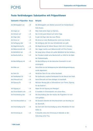 feste verbindungen substantive mit prpositionen pons - Praposition Beispiel