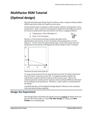 DX8 Tutorial - Multifactor RSM - D-optimal - Statease.info
