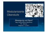 Modularisierte Oberstufe - Bewegung und Sport in Kärntner Schulen
