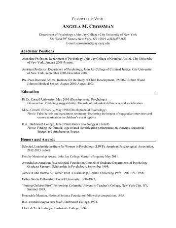Curriculum Vitae John Jay College Of Criminal Justice Cuny