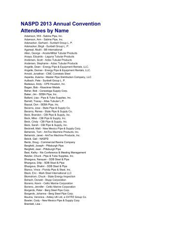 NASPD 2013 Annual Convention Attendees by Name