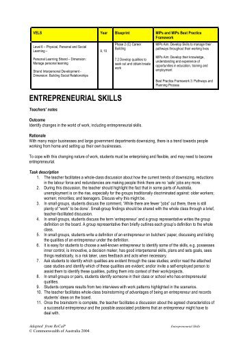 Primary school life long learning skills blueprint australian entrepreneurial skills blueprint australian blueprint for career malvernweather
