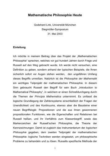 Mathematische Philosophie Heute - Munich Center for Mathematical ...