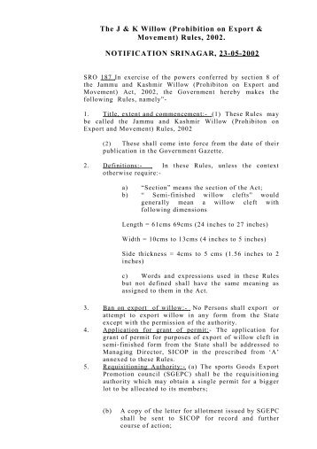 J&K Willow Rules - the official website of j&k forest department