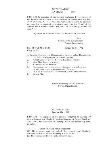 J&K Nationalisation of Forest Working Rules - the official website of ...