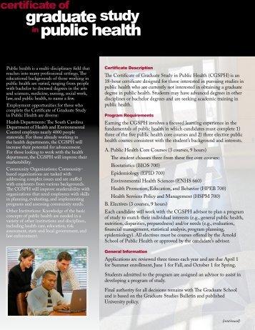 the Certificate of Graduate Study in Public Health brochure