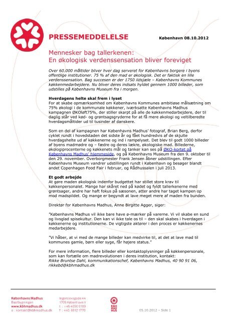 PRESSEMEDDELELSE - Københavns Madhus
