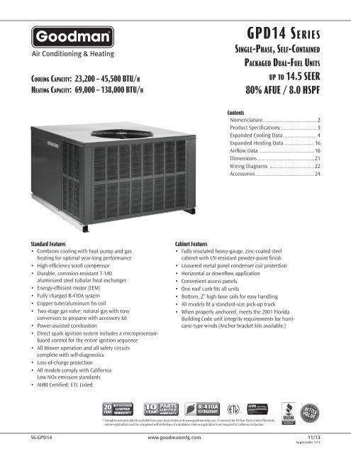 goodman heating wiring diagram free download product specifications goodman  product specifications goodman